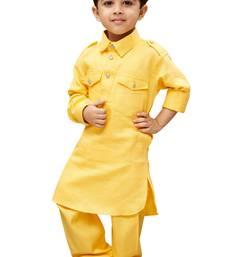 Boys' Yellow Cotton Pathani Khan Suit Set