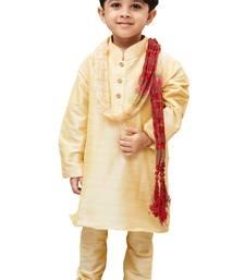 Boys' Gold Cotton Silk Kurta Pyjama and Dupatta Set