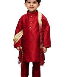 Boys' Maroon Cotton Silk Kurta Pyjama and Dupatta Set