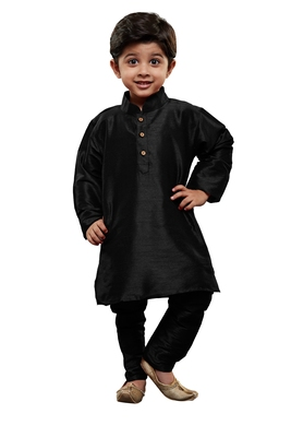 Boys' Black Cotton Silk Kurta And Pyjama Set