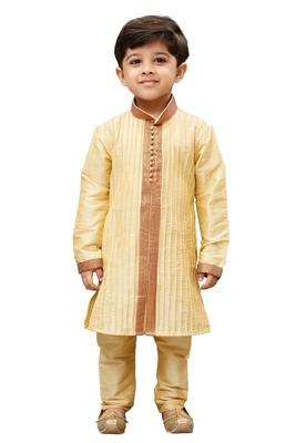 Boys' Gold Cotton Silk Kurta and Pyjama Set