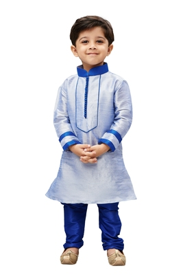 Boys' Light Blue Cotton Silk Kurta And Pyjama Set