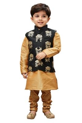 Boys' Gold Silk Cotton Blend Kurta Modi Jacket And Pyjama Set