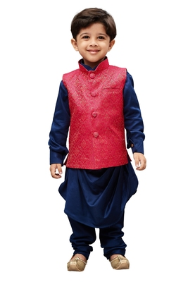 Boys' Blue Cotton Kurta Modi Jacket And Pyjama Set