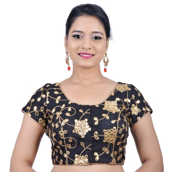 Black Embroidered Art Silk Stitched Readymade-Blouse