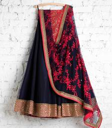Buy Blue embroidered silk semi stitched lehenga with dupatta women-ethnic-wear online