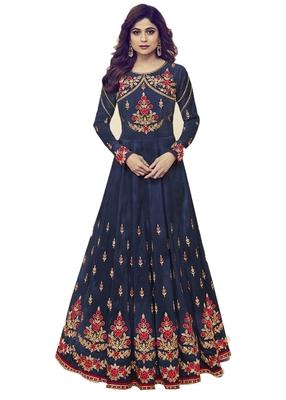 Dark-blue embroidered silk salwar with dupatta