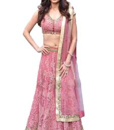 Buy pink embroidered net unstitched lehenga women-ethnic-wear online