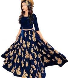 Buy Blue embroidered velvet semi-stitched lehenga women-ethnic-wear online