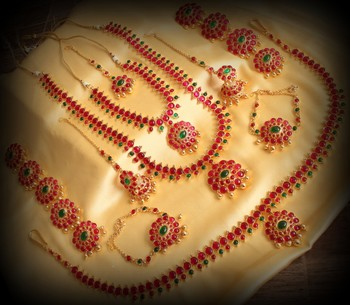 Beautiful Pink Green Designer Bridal Set