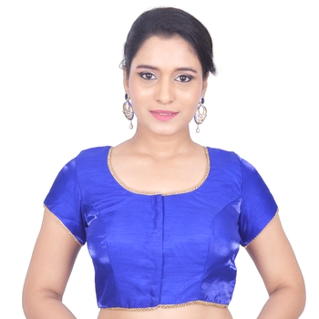 Blue Plain Art Silk Stitched Readymade Blouse
