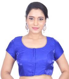 Blue Plain Art Silk Stitched Readymade Blouse