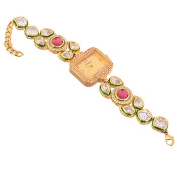 Red Ruby Kundan Wedding Stylish Watch