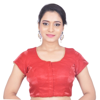 Red Plain Art Silk Stitched Readymade Blouse