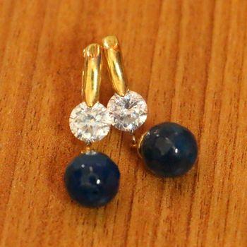 Blue Onyx & Diamond Looksilver Plated Hoops
