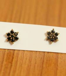 Black Onyx Flower Pattern Gold Plated Studs