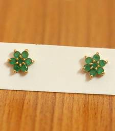 Green Onyx Flower Pattern Gold Plated Studs