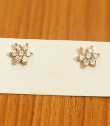 Diamond Look Flower Pattern Gold Plated Studs