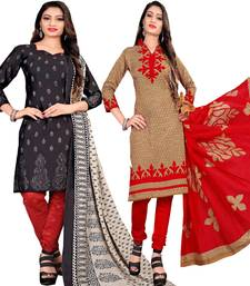 Buy Multicolor abstract print cotton salwar with dupatta (combo of 2) salwar-combo online