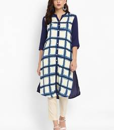 Navy-blue printed rayon kurti