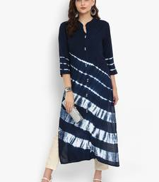 Buy Navy-blue printed rayon long-kurtis women-ethnic-wear online