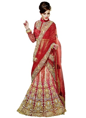 Multicolor Lehenga With Dupatta Net Embroidered And Stone Work Unstitched