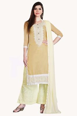 Beige Embroidered Chanderi Salwar With Dupatta