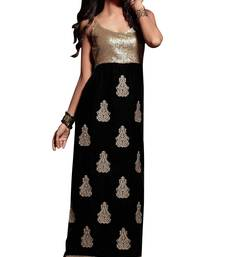 Buy Black embroidered crepe semi stitched salwar with dupatta straight-suit online