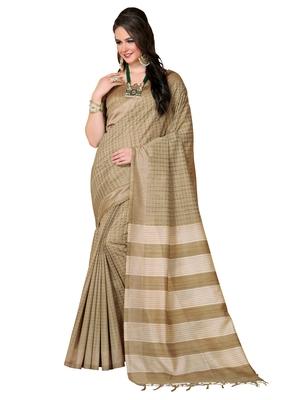 Beige printed with jhallar bhagalpuri saree with blouse
