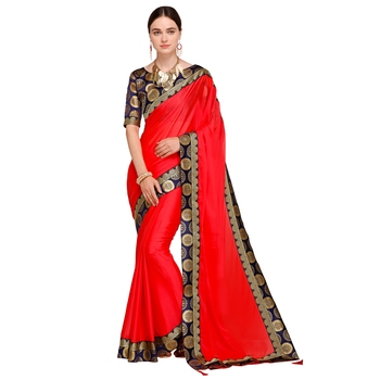 Red solid georgette saree with blouse