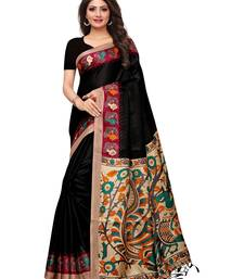 Buy Black printed art silk saree with blouse great-indian-saree-festival online