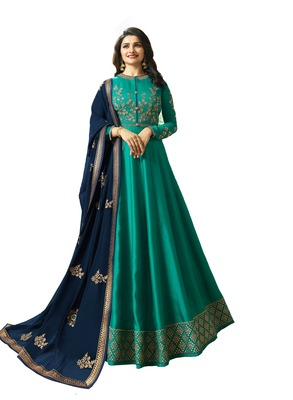 Green embroidered art silk salwar with dupatta