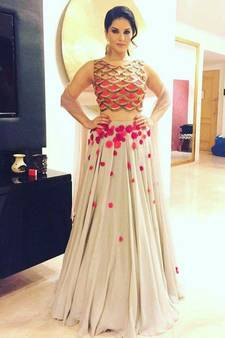5de7f04a26023d White embroidered georgette unstitched lehenga with dupatta