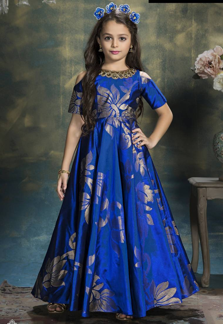 Buy Eshals Heavy Royal Blue Gown Of Jequard Silk Fabric Of Wedding