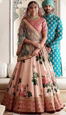 Light pink embroidered silk unstitched lehenga