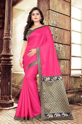 Rani Pink Plain Art Silk Saree With Blouse
