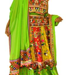 Multicolour yellow green navratri mirror work Kutch lehenga choli blouse and dupatta
