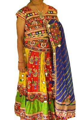 Multicolour blue yellow navratri mirror work Kutch lehenga choli blouse and dupatta