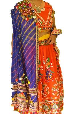 Multicolour Blue Orange navratri mirror work Kutch lehenga choli blouse and dupatta