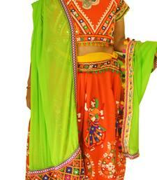 Multicolour Orange green navratri mirror work Kutch lehenga choli blouse and dupatta