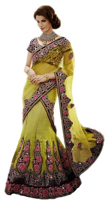 multicolor Net and Brocade and Dupatta-Net Embroidered and Stone Work unstitched lehenga-choli