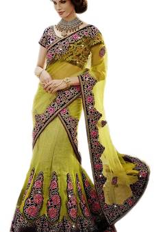 0e373d9b3d multicolor Net and Brocade and Dupatta-Net Embroidered and Stone Work  unstitched lehenga-choli. Shop Now