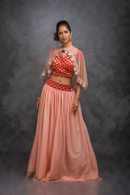 Peach embroidered net stitched lehenga with dupatta