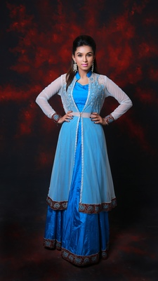Blue embroidered art silk stitched lehenga with dupatta