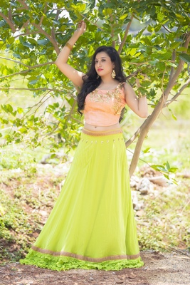 Green embroidered georgette stitched lehenga with dupatta
