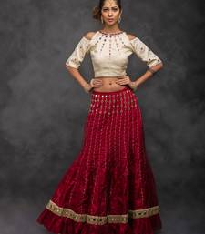 Buy Cream embroidered art silk stitched lehenga with dupatta readymade-lehenga-cholis online