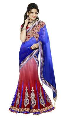 Multicolor Net And Net Jequard And Dupatta Net And Inner Satin Patch Work And Zari Work Unstitched Lehenga Choli