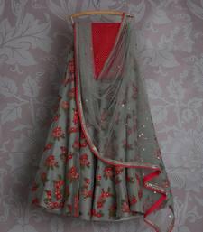 Buy Grey net embroidered lehenga choli with dupatta women-ethnic-wear online