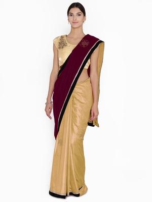 Chhabra 555  Burgundy Embellished velvet Half and Half saree with blouse
