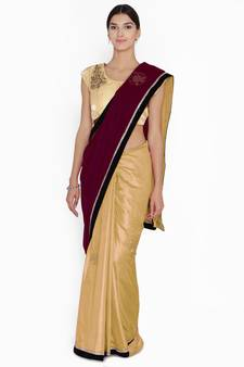 e6609dcd5f Chhabra 555 Burgundy Embellished velvet Half and Half saree with blouse